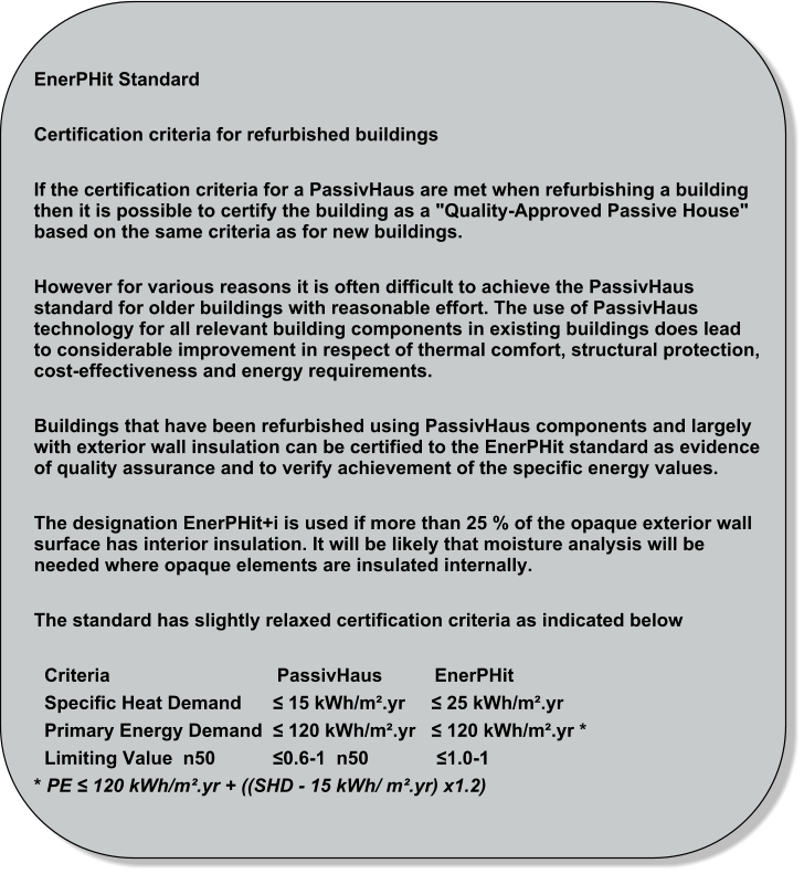"EnerPHit Standard  Certification criteria for refurbished buildings  If the certification criteria for a PassivHaus are met when refurbishing a building then it is possible to certify the building as a ""Quality-Approved Passive House"" based on the same criteria as for new buildings.  However for various reasons it is often difficult to achieve the PassivHaus standard for older buildings with reasonable effort. The use of PassivHaus technology for all relevant building components in existing buildings does lead to considerable improvement in respect of thermal comfort, structural protection, cost-effectiveness and energy requirements.  Buildings that have been refurbished using PassivHaus components and largely with exterior wall insulation can be certified to the EnerPHit standard as evidence of quality assurance and to verify achievement of the specific energy values.  The designation EnerPHit+i is used if more than 25 % of the opaque exterior wall surface has interior insulation. It will be likely that moisture analysis will be needed where opaque elements are insulated internally.  The standard has slightly relaxed certification criteria as indicated below      Criteria                                PassivHaus          EnerPHit   Specific Heat Demand      ≤ 15 kWh/m².yr     ≤ 25 kWh/m².yr   Primary Energy Demand  ≤ 120 kWh/m².yr   ≤ 120 kWh/m².yr *   Limiting Value  n50           ≤0.6-1  n50             ≤1.0-1 * PE ≤ 120 kWh/m².yr + ((SHD - 15 kWh/ m².yr) x1.2)"